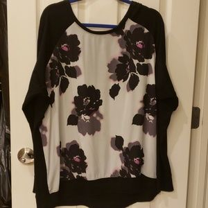 Black and Purple/Hot Pink Flowers Top